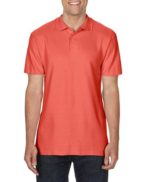 100 cotton Gildan polo shirt bright salmon