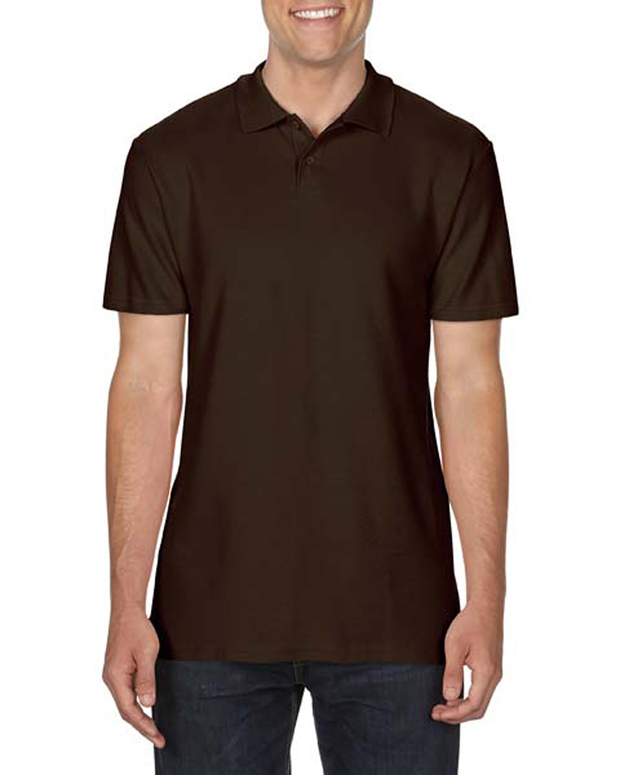 100 cotton Gildan polo shirt dark choc