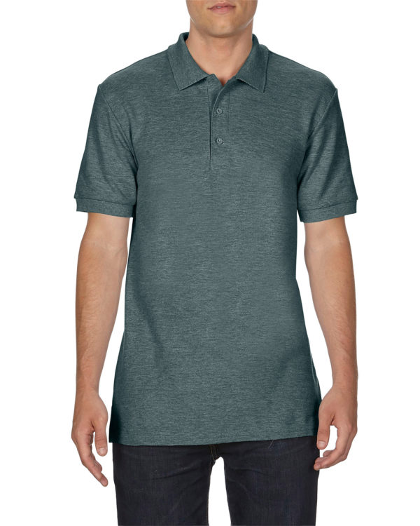 100 cotton Gildan polo shirt dark heather