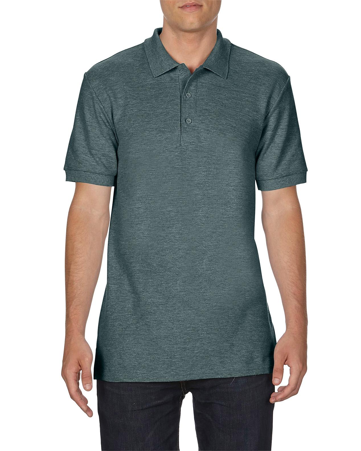 100 cotton Gildan polo shirt dark heather