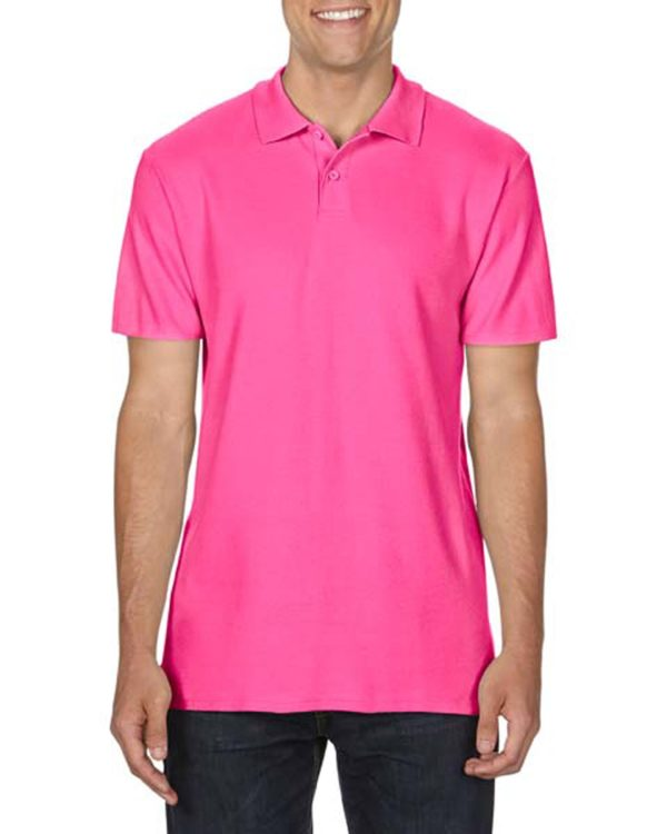 100 cotton Gildan polo shirt heliconia