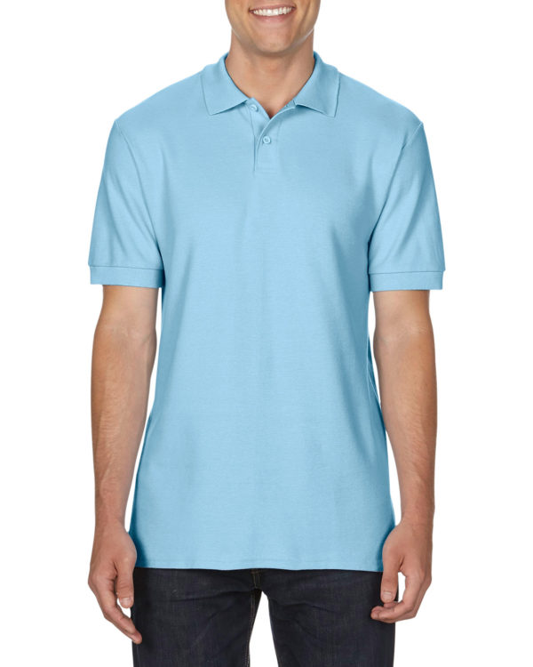 100 cotton Gildan polo shirt lightblue
