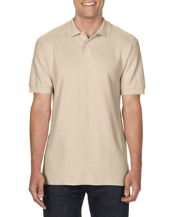 100 cotton Gildan polo shirt sand