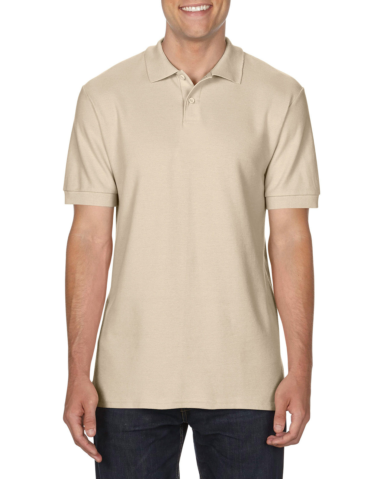 100 cotton Gildan polo shirt sand