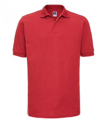 bright red work polo shirt