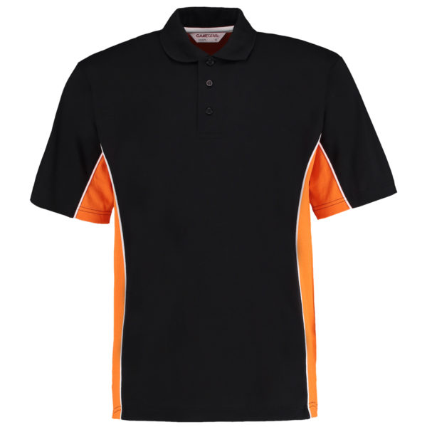 contrast polo black orange
