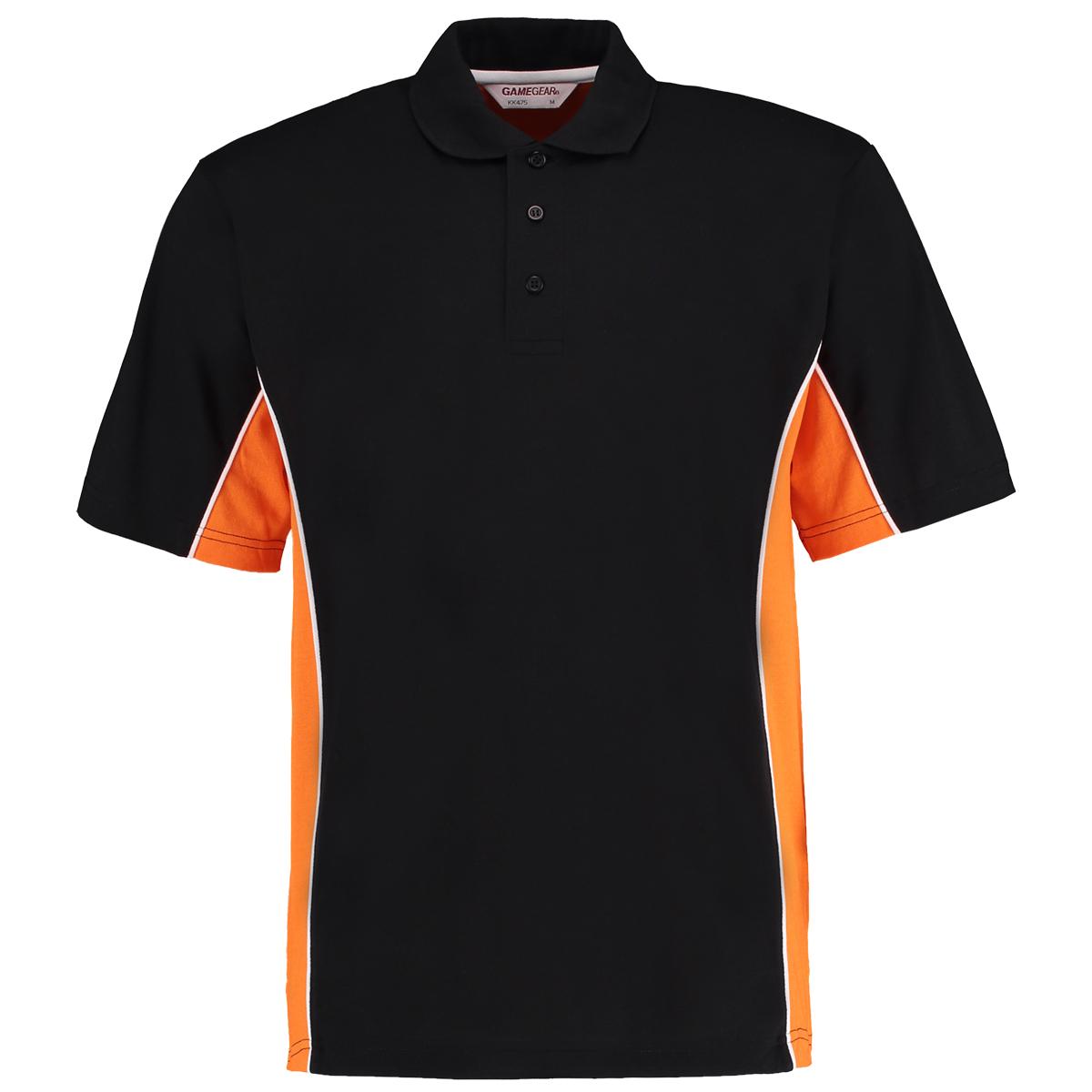 contrast polo black orange