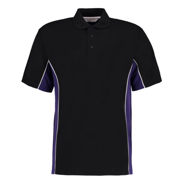 contrast polo black purple