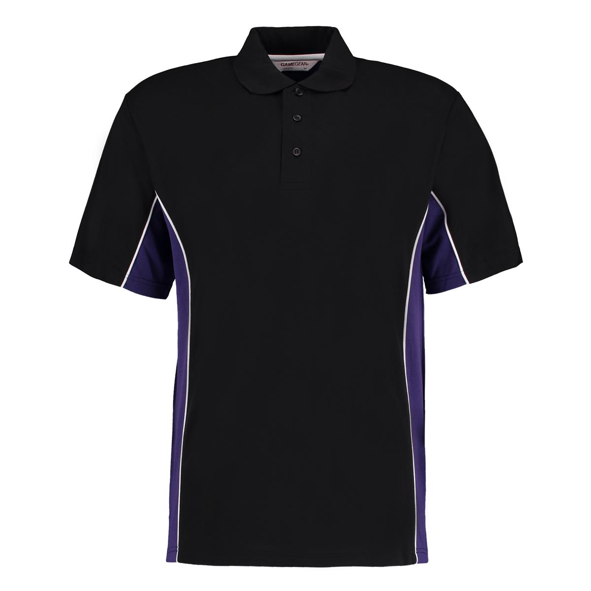 contrast polo black purple