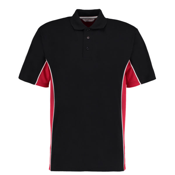 contrast polo black red