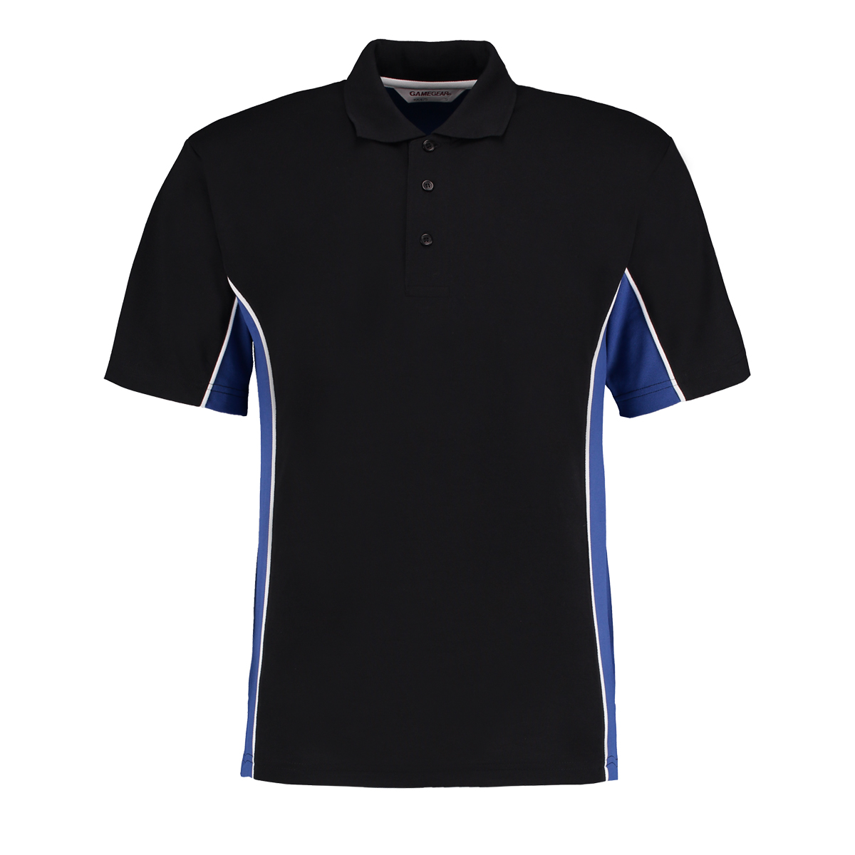 contrast polo black royal blue