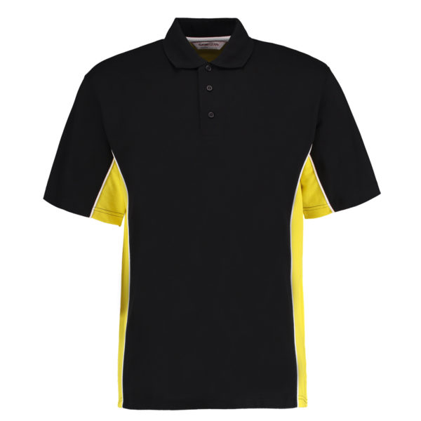 contrast polo black yellow