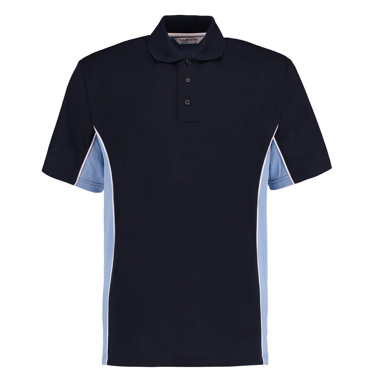 contrast polo navy light blue