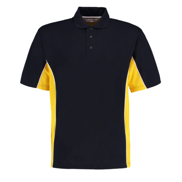 contrast polo navy mid yellow