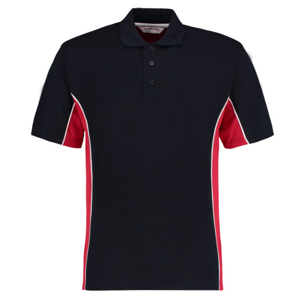 contrast polo navy red