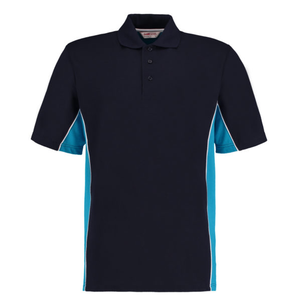 contrast polo navy turquoise