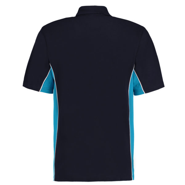 contrast polo navy turquoise bk