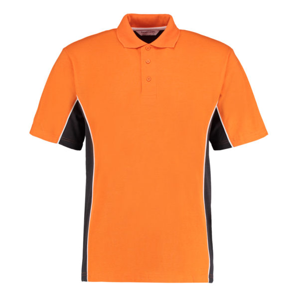 contrast polo orange graphite