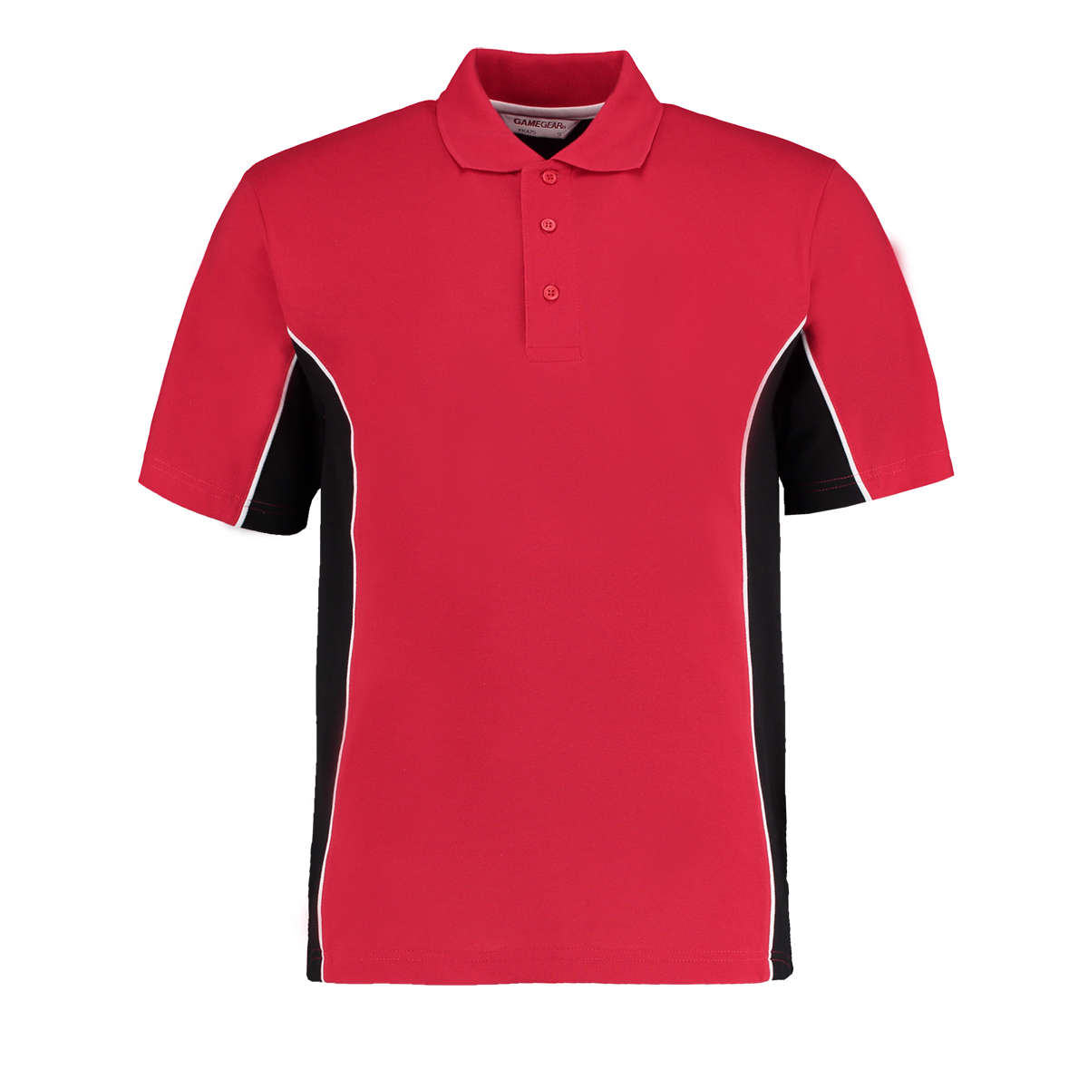 contrast polo red black