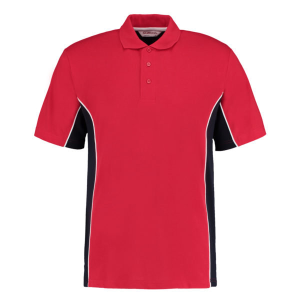 contrast polo red navy