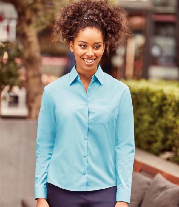 934F ladies poplin long sleeve shirt