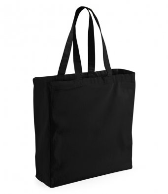 Black Canvas Shopper Tote Bag