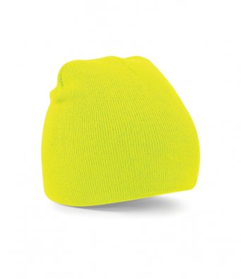Fluorescent yellow beanie