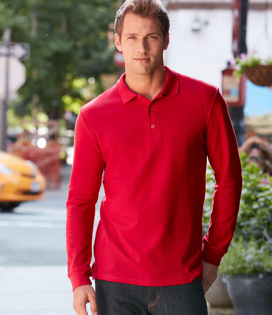 Gildan Long Sleeve Premium Cotton Double Pique Polo Shirt GD48