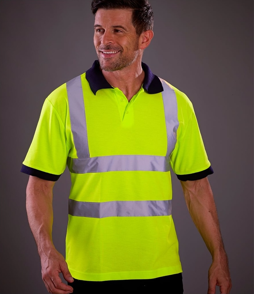 a7997be94 Custom Printed & Embroidered Hi Vis Safety Polo Shirts - Printed Logo...