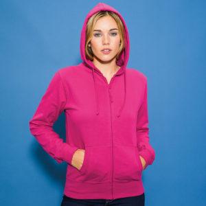 JH055 ladies zipped hoodie