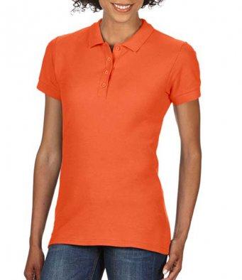 Ladies orange 100 cotton polo