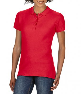 Ladies red 100 cotton polo