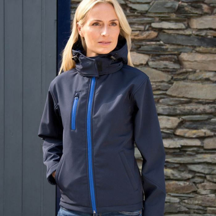 RS230F ladies hooded soft shell jacket