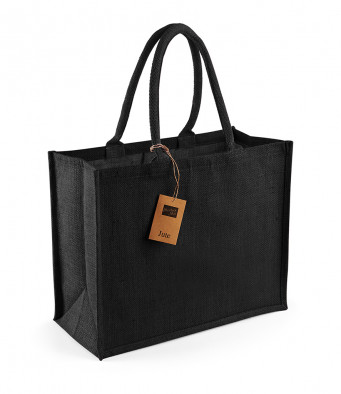 black black jute shopping bag