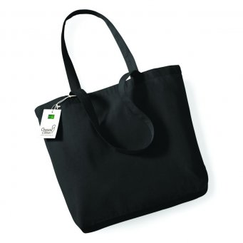 black organic cotton shopper tote bag