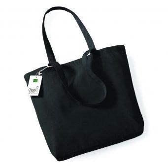 black organic cotton shopper tote bag