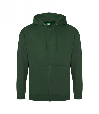 bottle green zipped hoodie
