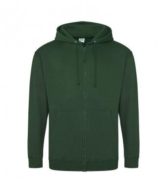 bottle green zipped hoodie