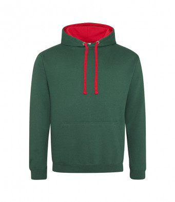 bottlegreen firered contrast hoodies
