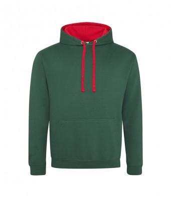 bottlegreen firered contrast hoodies