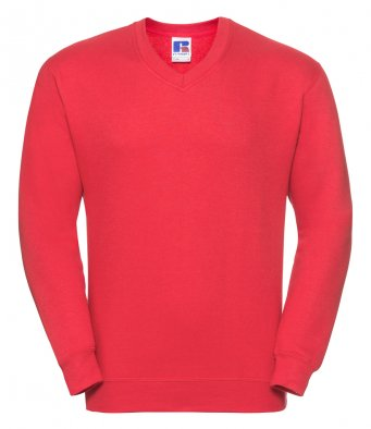 bright red v neck sweatshirt