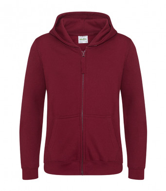 burgundy childrens zipped hoodie