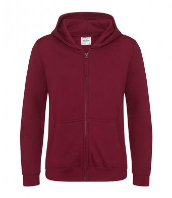 burgundy childrens zipped hoodie