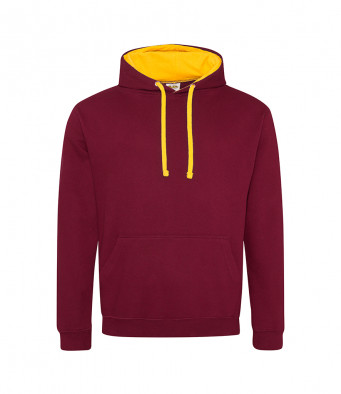 burgundy gold contrast hoodies
