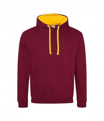 burgundy gold contrast hoodies