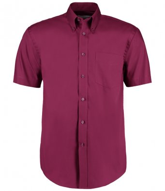 burgundy oxford short sleeve shirt