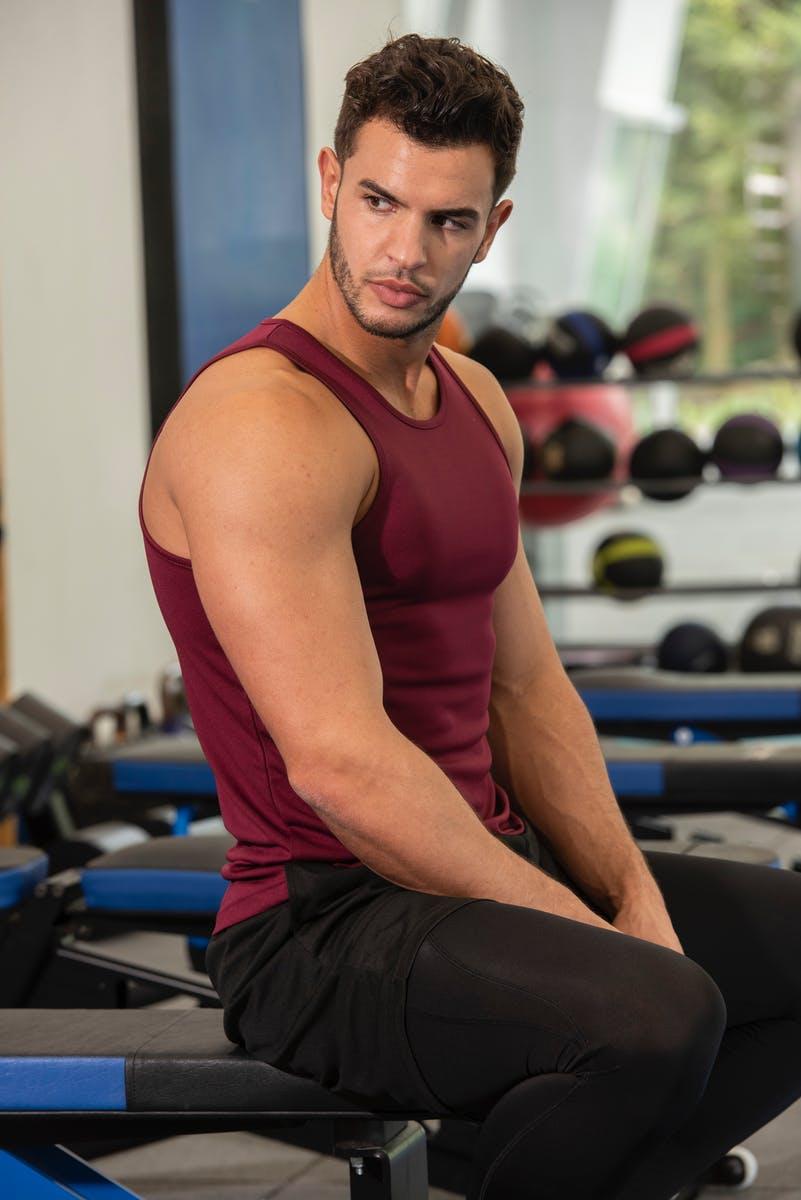 burgundy sports vest