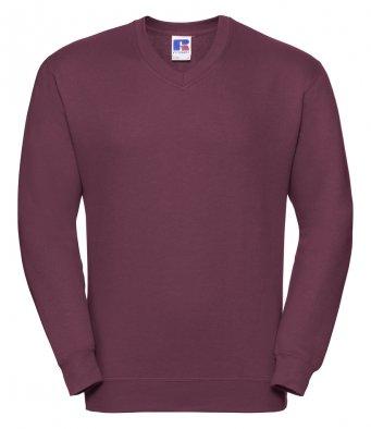 burgundy v neck sweatshirt