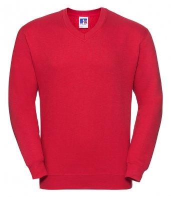 classic red v neck sweatshirt