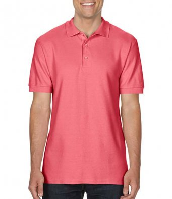 coral silk premium cotton polo shirt